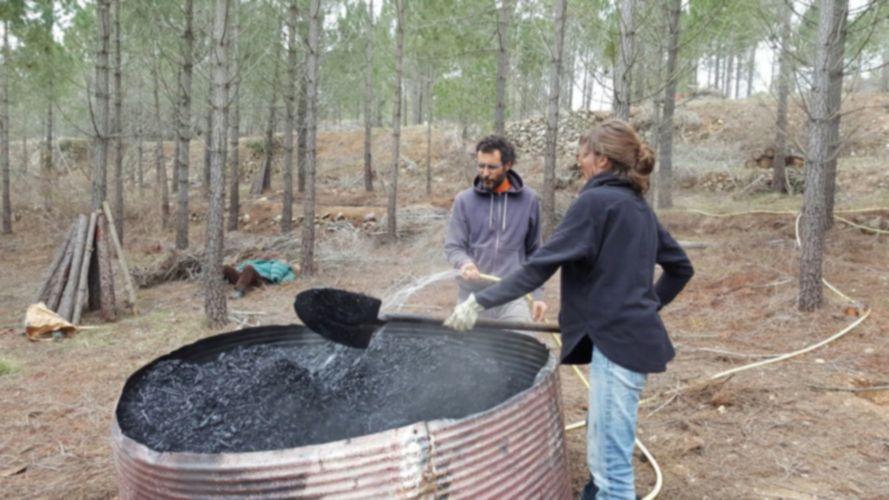 biochar, apagando la combustión